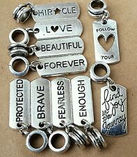 10P Mix Lot Origami Owl Style Word Quote Dog Tags European Dangle Charms Beads