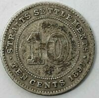 Straits Settlements 10 Cents 1891 Queen Victoria KM#11 Silver 0.800 Coin