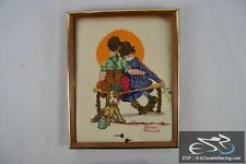 """Norman Rockwell Wooden Frame Cross Stitch Needlepoint Sunset Kids and Dog 15x12"""""""