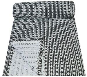 Indian Cotton Kantha Quilt Bedspread Bed Cover Blanket Polka Dot Print Gudri
