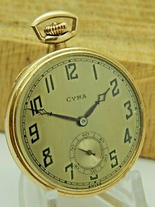 Vintage Antique Cyma Gold Filled Presentation Pocket Watch 15 Jewels Tavannes