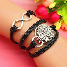 Silver Wolf Head Black Braided Bracelet for Men or Women Fits all Sizes