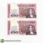 IRELAND: 2 x 10 Irish Punt Banknotes with Consecutive Serial Numbers.