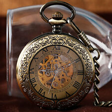 Bronze Self Wind Roman Numerals Automatic Mechanical Carving Pocket Watch Chain