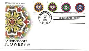 US Scott #4722, First Day Cover 1/14/13 Kansas City Plate #S1111 Coil Flowers