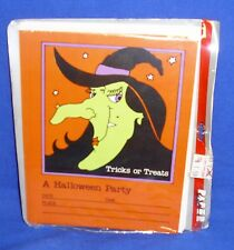 Paper Art Halloween Party Invitations Green Faced Witch Pkg of 8 NIP