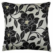 """LUXURY CHENILLE FLORAL FLOWER THICK BLACK BEIGE CREAM CUSHION COVER 18"""" - 45CM"""
