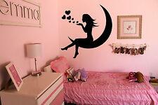 Vinyl Wall Decal Sticker Decor Room Nursery Princess Girl Moon Love Heart F2125