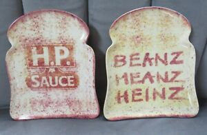 HP Sauce and Heinz Beanz Toast Bread Shaped Plates - Excellent Condition