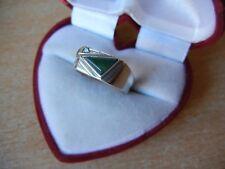 4.3 g Modern Size 8.5 Vintage silver Ring Signet green stone