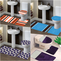 ASSORTED DESIGNS 3PC SET BATHROOM BATH MAT COUNTOUR RUG TOILET LID COVER