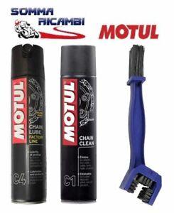 Kit Pulizia Catena Moto Sgrassante Motul C1+C4 Grasso Lubrificante Spray 2x400ml