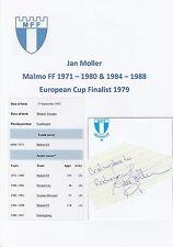 Jan Moller Malmo FF 1971-1980 & 1984-1988 original main signé découpe / carte