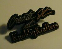 Knobby Krafters Lapel Pin - Vintage Create It At Knobby Krafters Plastic Badge