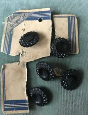 """Vintage NOS Set of 5 Early Plastic Black Daisy Shaped Buttons 7/8"""""""