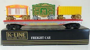 K LINE FLAT CAR WITH CIRCUS WAGONS K-69003    K LINE CIRCUS CAR   CIRCUS WAGON