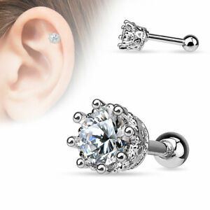 """1 PC 16g 1/4"""" 8 Prong 5MM CZ Tragus Cartilage Barbell  Stud Earring #H"""