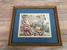 "Vintage 10"" x 9""  Framed Outdoor scene Wicker bench blanket and book painting"