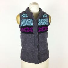 Free People Thick Wool Knit Puffer Nordic Fair Isle Snaps Sweater Vest Sz M
