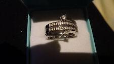Fine 9ct Multi Shape Diamond Bypass multi-band ring Size M Weight 7G