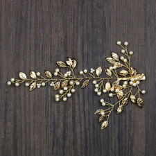Bridal Wedding Gold Leaf Pearl Hair Clip Hair Band Headband Bridesmaid Headpiece