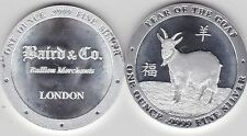 BAIRD & CO YEAR OF THE GOAT SILVER ONE OUNCE ROUND IN NEAR MINT CONDITION
