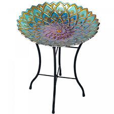 Decorative Bird Bath Garden Outdoor Birdbath Feeder Glass Mosaic Flower Fusion