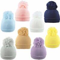 Baby Pom Pom Hat Bobble Beanie Double Knitted Winter Warm Boy Girl Newborn-12 M