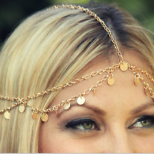 Fashion Elegant Women Grecian Coin Gold Head Chain Headband Headpiece Hair Band