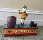 Vintage Cast Iron Mechanical Bank Clown & Trick Dog Hand Painted Works