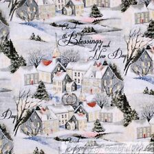 BonEful Fabric FQ Cotton Quilt White Xmas Snowflake Scenic Holiday Church Home S