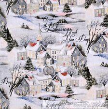 BonEful Fabric Cotton Quilt White Xmas Snowflake Scenic Holiday Church Vtg Scrap