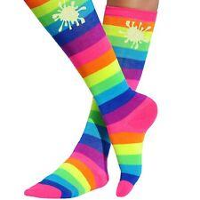 Slime Knee High Socks Neon Rainbow Striped Girls Long Socks Kids Footwear