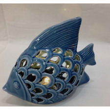Pesce in porcellana blu traforato con luce led 14x12 cm BOMBONIERA 0RBE