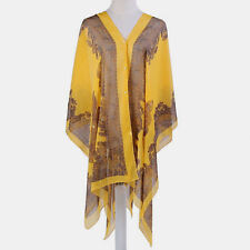 WOMEN'S YELLOW AND TAN CHIFFON BEACH COVER UP TOP, ONE SIZE, PAISLEY PATTERN
