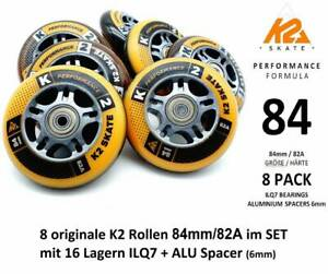 K2 PERFORMANCE FORMULA SKATE ROLLEN SET 8 STÜCK 84mm/82A + ILQ7 + ALU SPACER 6mm