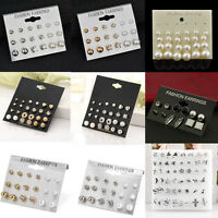 24Pair Fashion Women Rhinestone Crystal Pearl Ear Stud Earrings Set Jewelry Gift