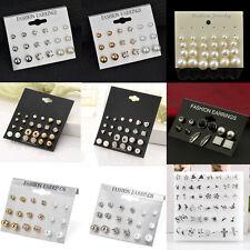 24Pair Fashion Women Rhinestone Crystal Pearl Ear Stud Earrings Set Jewelry Gift