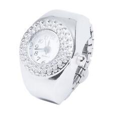 Women Silver Alloy Quartz Movement Pocket Finger Ring Watch FP