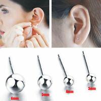 PAIR GENUINE 925 STERLING SILVER BALL BEAD STUD EARRINGS 3MM-6MM UK SELLER