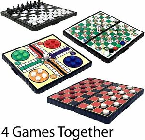SET 4 TRAVEL GAMES LUDO CHESS DRAUGHTS SNAKES & LADDERS MINI FUN MAGNETIC BACK