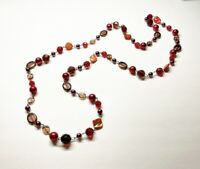 "Fab Vintage 1960s RED & PURPLE GLASS/PEARL/M.O.P Mixed Beaded 50"" Long Necklace"