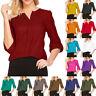 Women Ladies Solid Chiffon T-Shirt 3/4 Sleeve V-neck Blouse Tops New Fashion