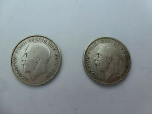 George V Silver One Shillings X 2 from 1922 & 1927