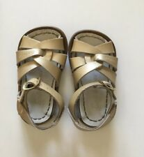 Salt Water Sandals Gold Baby Girl Toddler 4 Leather GUC