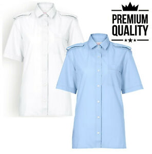 HOMANN Ladies Short Sleeve Pilot Security Shirt Uniform Epaulette Work Workwear