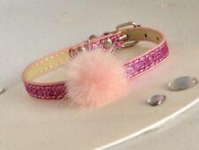 Pink Pom Pom Glitter Dog Puppy Cat Kitten  Pink  Collar   Xsmall  New