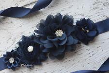 Flower Sash, dark navy Sash  , flower Belt, maternity sash, wedding sash
