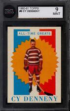 1960 TOPPS HOCKEY #8 CY DENNENY Graded KSA 9 MINT All-Time Great Boston Bruins