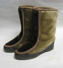 Vintage 70s SNOWLAND Faux Fur Apres Ski Boots US 6 Sherpa Lined Winter Vegan